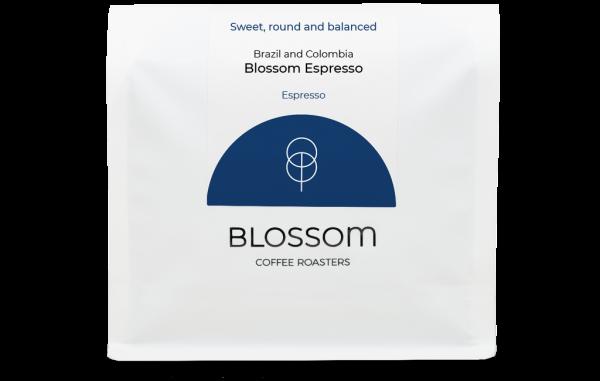 A retail bag of Blossom Espresso coffee