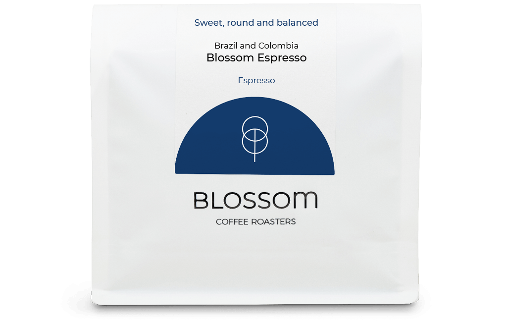 A retail bag of Blossom Espresso coffee