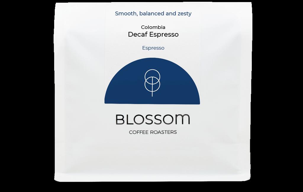 A retail bag of Decaf espresso coffee